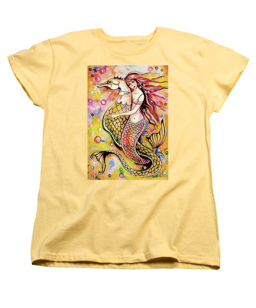 Women's T-Shirt (Standard Cut) featuring the painting Black Sea Mermaid by Eva Campbell