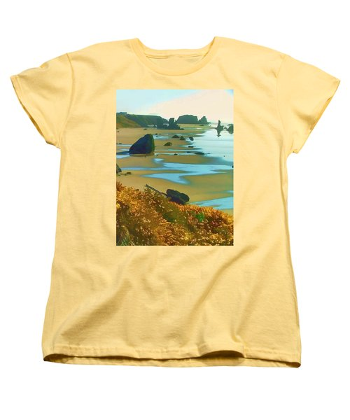 Blooming Bandon Watercolor Women's T-Shirt (Standard Cut) by Wendy McKennon