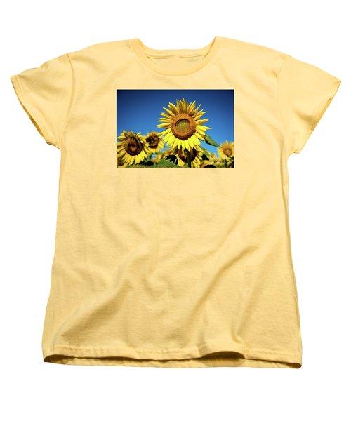 Blue And Gold Women's T-Shirt (Standard Cut) by Sandy Molinaro