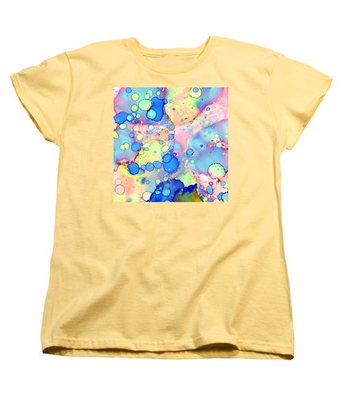 Women's T-Shirt (Standard Cut) featuring the painting Blue Bubble Gum Pop by Patricia Lintner