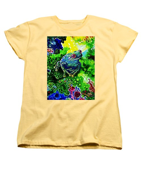 Blue  Frog Women's T-Shirt (Standard Cut) by Hartmut Jager