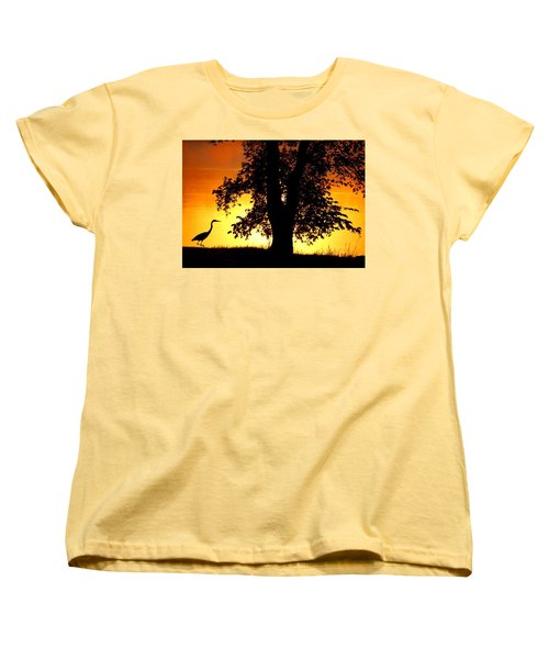 Women's T-Shirt (Standard Cut) featuring the photograph Blue Heron At Sunrise by Sumoflam Photography
