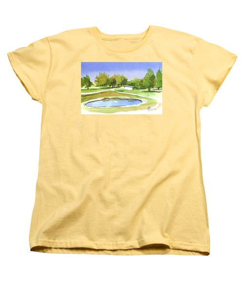 Women's T-Shirt (Standard Cut) featuring the painting Blue Pond At The A V Country Club by Kip DeVore