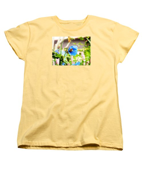 Women's T-Shirt (Standard Cut) featuring the photograph Blue Poppy by Zinvolle Art