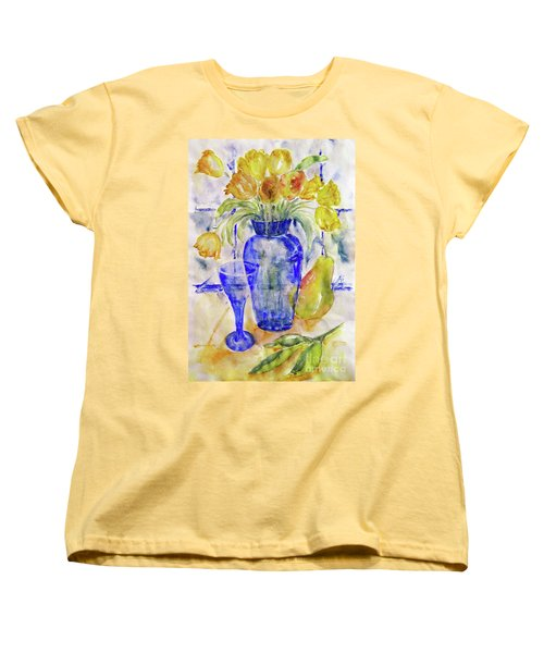 Women's T-Shirt (Standard Cut) featuring the painting Blue Vase by Jasna Dragun