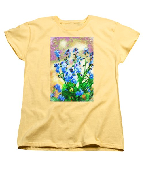 Women's T-Shirt (Standard Cut) featuring the photograph Blue Wildflowers by Donna Bentley
