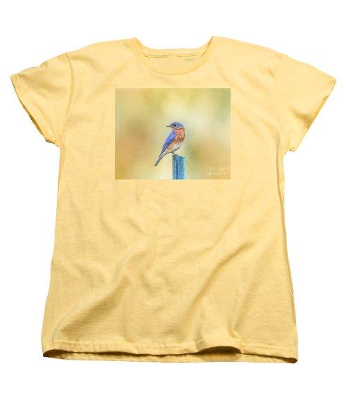 Women's T-Shirt (Standard Cut) featuring the photograph Bluebird On Blue Stick by Robert Frederick