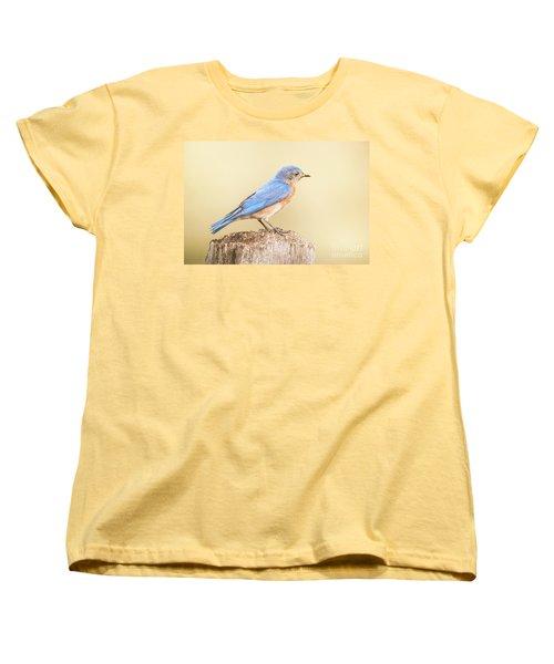 Women's T-Shirt (Standard Cut) featuring the photograph Bluebird On Fence Post by Robert Frederick