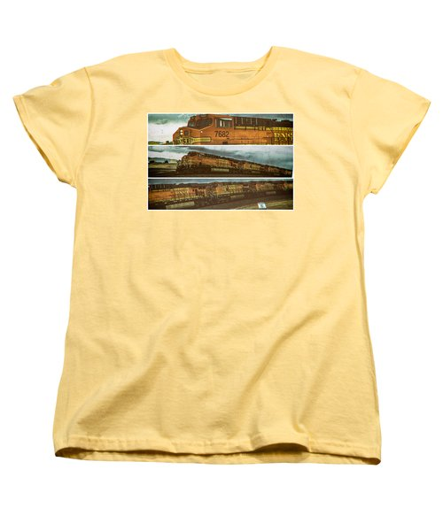 Women's T-Shirt (Standard Cut) featuring the digital art Bnsf 7682 Triptych  by Bartz Johnson