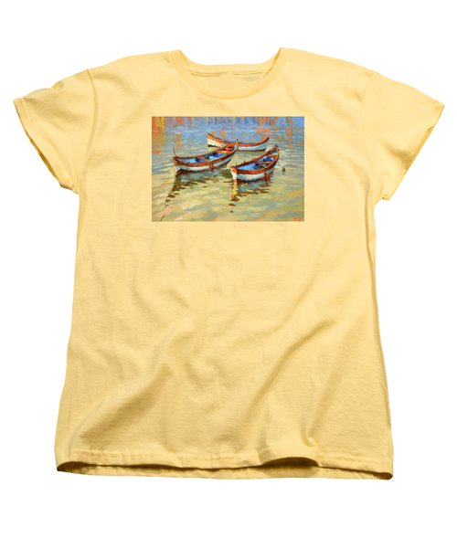 Boats In The Sunset Women's T-Shirt (Standard Cut) by Dmitry Spiros