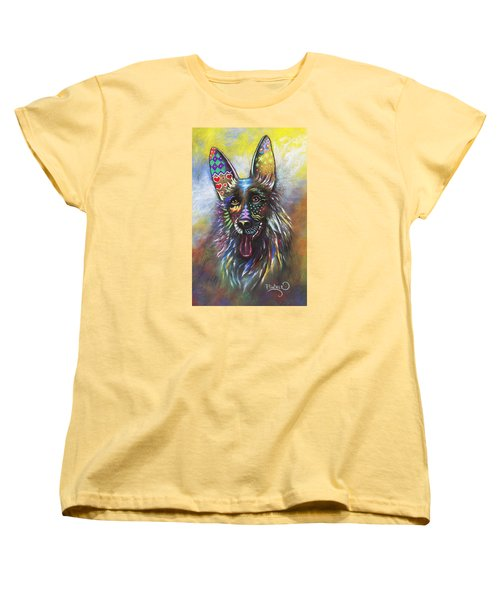 Women's T-Shirt (Standard Cut) featuring the mixed media German Shepherd by Patricia Lintner