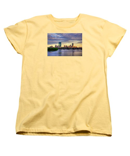 Boston Skyline Sunset Over Back Bay Women's T-Shirt (Standard Cut) by Joann Vitali