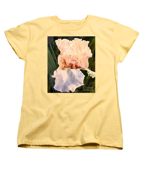 Women's T-Shirt (Standard Cut) featuring the painting  Botanical Peach Iris by Laurie Rohner