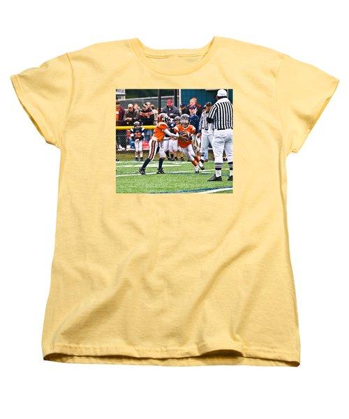 Boys Football Women's T-Shirt (Standard Cut) by Susan Leggett