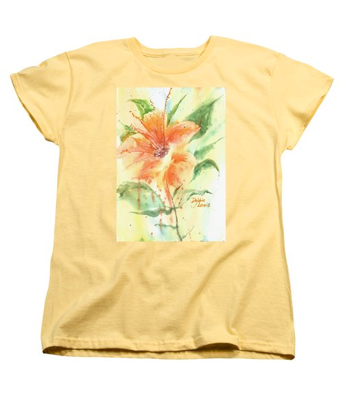 Bright Orange Flower Women's T-Shirt (Standard Cut) by Debbie Lewis
