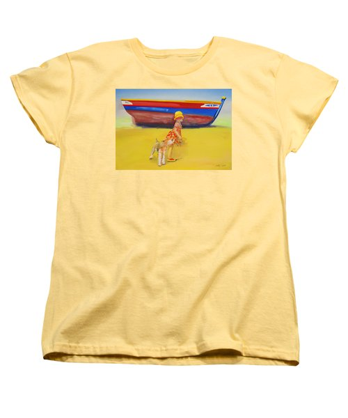 Brightly Painted Wooden Boats With Terrier And Friend Women's T-Shirt (Standard Cut) by Charles Stuart