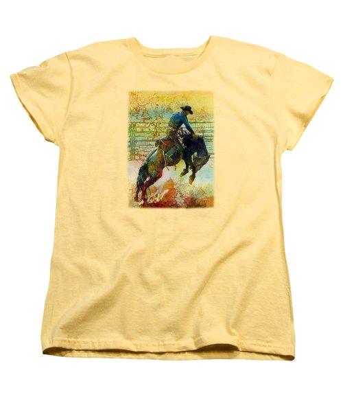 Women's T-Shirt (Standard Cut) featuring the painting Bucking Rhythm by Hailey E Herrera