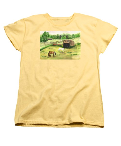 Bucks County Horse Farm Women's T-Shirt (Standard Cut) by Lucia Grilletto