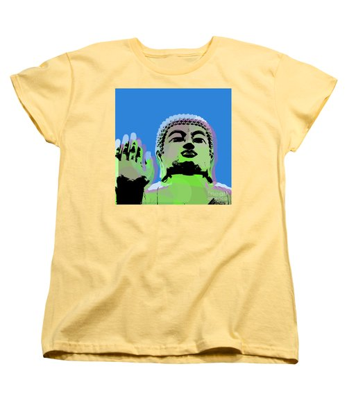 Women's T-Shirt (Standard Cut) featuring the digital art Buddha Warhol Style by Jean luc Comperat
