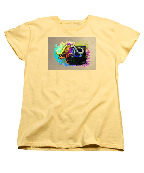 Women's T-Shirt (Standard Cut) featuring the painting Buffalo Boss by Anthony Mwangi