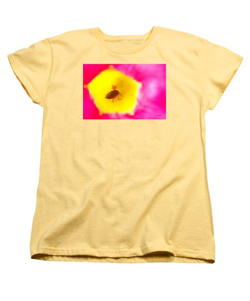 Women's T-Shirt (Standard Cut) featuring the photograph Bug In Pink And Yellow Flower  by Ben and Raisa Gertsberg