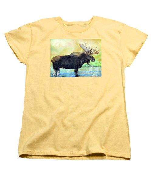 Bull Moose In Mid Stream Women's T-Shirt (Standard Cut) by Sherril Porter