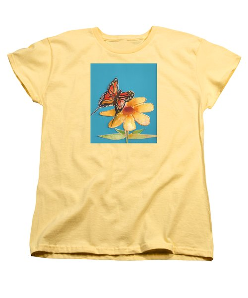 Women's T-Shirt (Standard Cut) featuring the painting Butterflower by Denise Fulmer