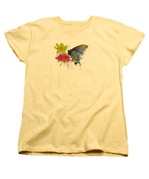 Butterfly On Lantana - Splatter Paint Tee Shirt Design Women's T-Shirt (Standard Cut) by Debbie Portwood