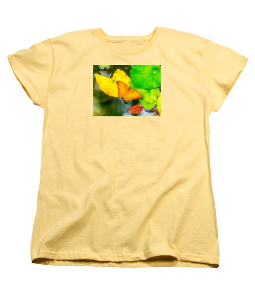 Butterfly On Lilies Women's T-Shirt (Standard Cut) by Jerry Cahill