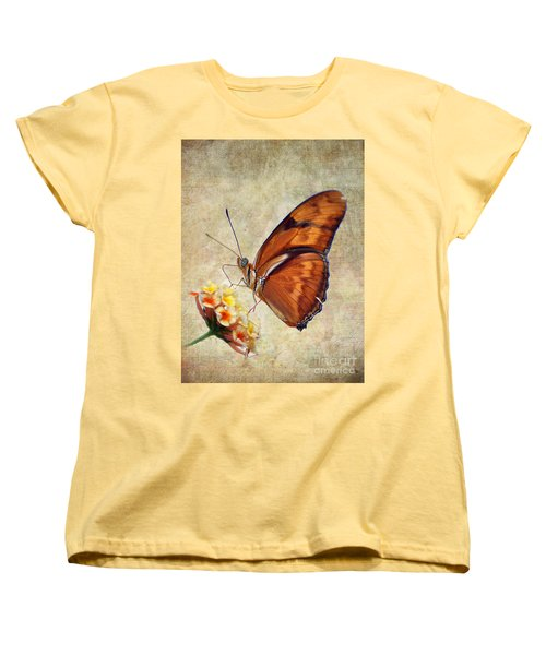 Women's T-Shirt (Standard Cut) featuring the pyrography Butterfly by Savannah Gibbs