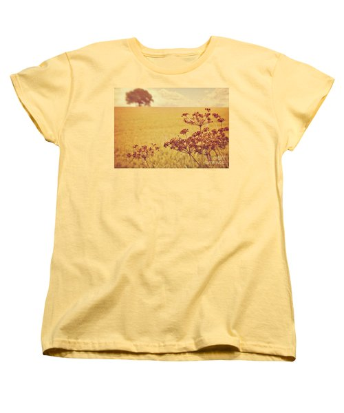Women's T-Shirt (Standard Cut) featuring the photograph By The Side Of The Wheat Field by Lyn Randle