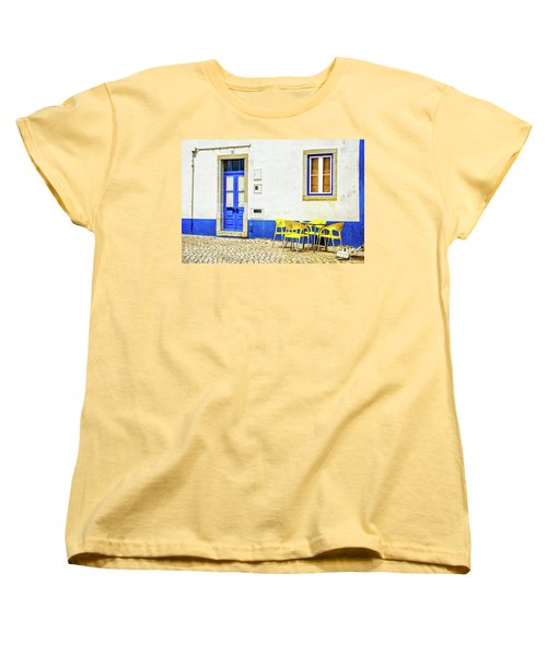 Women's T-Shirt (Standard Cut) featuring the photograph Cafe In Portugal by Marion McCristall