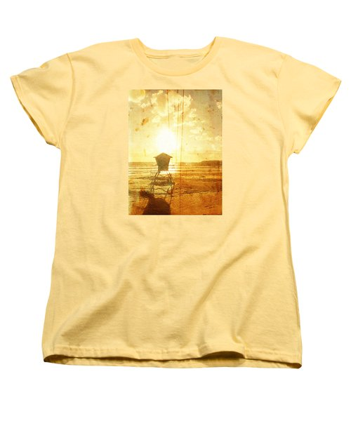 Women's T-Shirt (Standard Cut) featuring the digital art Californian Lifeguard Cabin by Andrea Barbieri