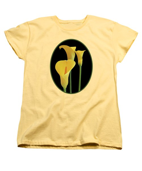 Calla Lilies - Yellow On Black Women's T-Shirt (Standard Cut) by Gill Billington