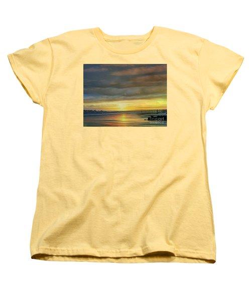 Captivating Sunset Over The Harbor Women's T-Shirt (Standard Cut) by Judy Palkimas