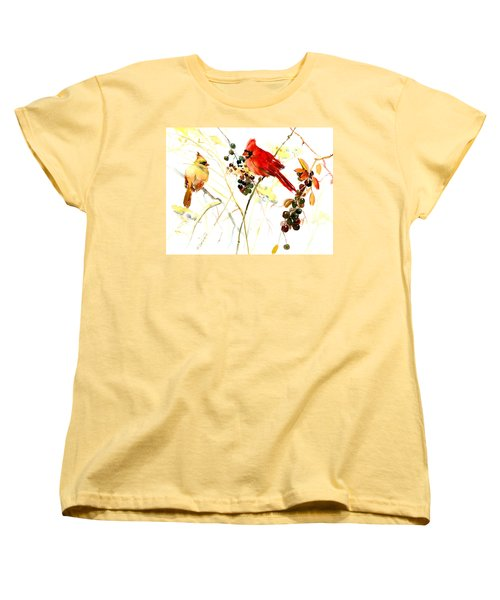 Cardinal Birds And Berries Women's T-Shirt (Standard Cut) by Suren Nersisyan