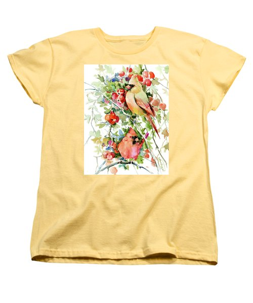 Cardinal Birds And Hawthorn Women's T-Shirt (Standard Cut) by Suren Nersisyan