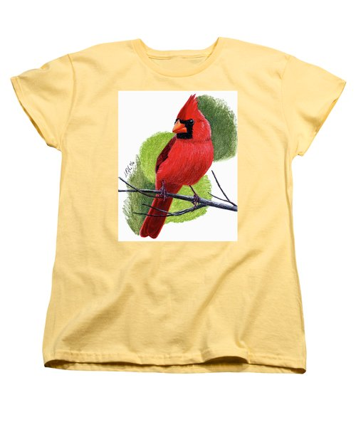 Women's T-Shirt (Standard Cut) featuring the painting Cardinal1 by Joseph Ogle