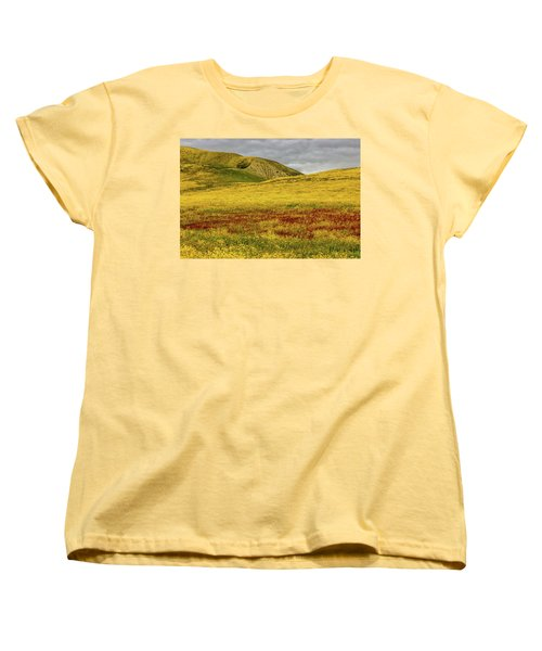 Women's T-Shirt (Standard Cut) featuring the photograph Carrizo  Plain Super Bloom 2017 by Peter Tellone