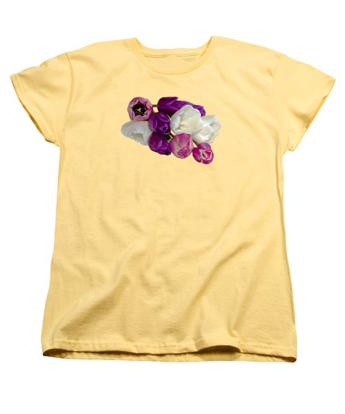 Women's T-Shirt (Standard Cut) featuring the photograph Cascading Tulips by Phyllis Denton