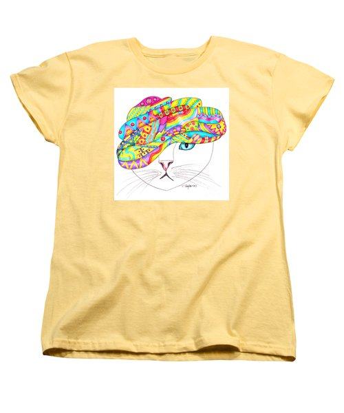 Women's T-Shirt (Standard Cut) featuring the drawing Cat With A Fancy Turban by Terry Taylor