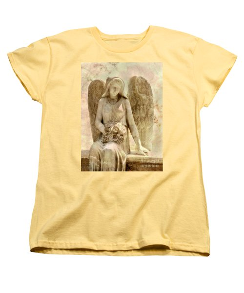 Cemetery Angel Statue Women's T-Shirt (Standard Cut) by Randy Steele