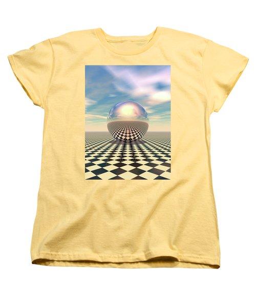 Women's T-Shirt (Standard Cut) featuring the digital art Checker Ball by Phil Perkins