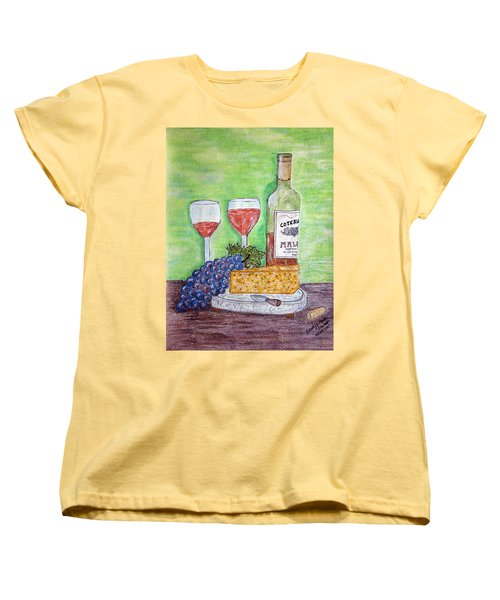 Cheese Wine And Grapes Women's T-Shirt (Standard Cut) by Kathy Marrs Chandler