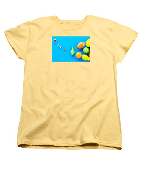 Women's T-Shirt (Standard Cut) featuring the painting Chef Tumbled In Front Of Colorful Tomatoes II Little People On Food by Paul Ge