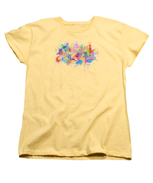 Chicago Skyline Paint Splatter Illustration Women's T-Shirt (Standard Cut) by Jit Lim