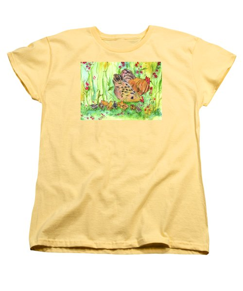Women's T-Shirt (Standard Cut) featuring the painting Chicken Family by Cathie Richardson