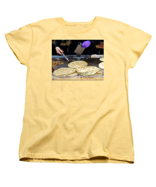 Women's T-Shirt (Standard Cut) featuring the photograph Chinese Street Vendor Cooks Onion Pancakes by Yali Shi
