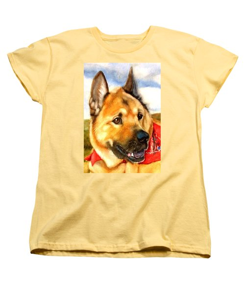 Women's T-Shirt (Standard Cut) featuring the painting Chow Shepherd Mix by Marilyn Jacobson