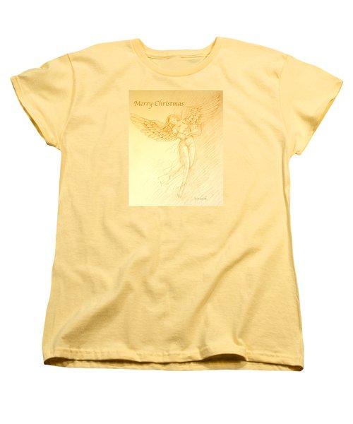 Christmas Angel With Harp Women's T-Shirt (Standard Cut) by Deborah Dendler